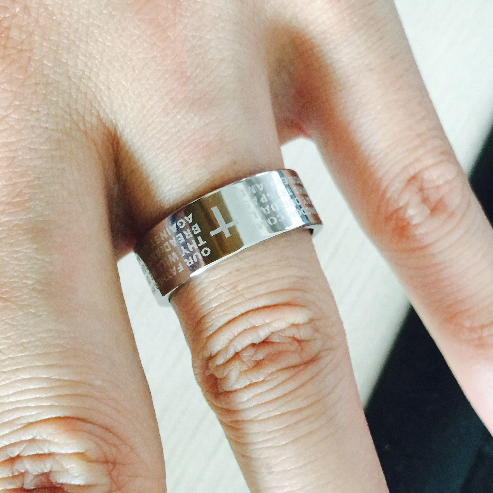 Silver english bible ring 8mm 316 Titanium Steel 18k white gold plated cross Letter prayer bible wedding band ring men women
