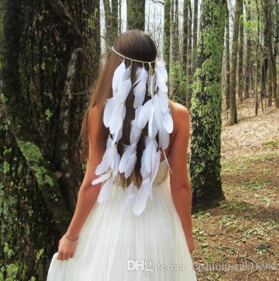 Bohemian White feather wedding headband Gypsy Indian hippie hair accessories Women girls peacock feather hair band