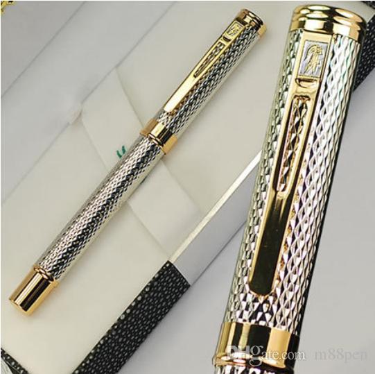 haute qualité crocodile marque M plume Argent métal fontaine stylo de bureau papeterie Fournitures écriture cadeau d'affaires stylos à encre