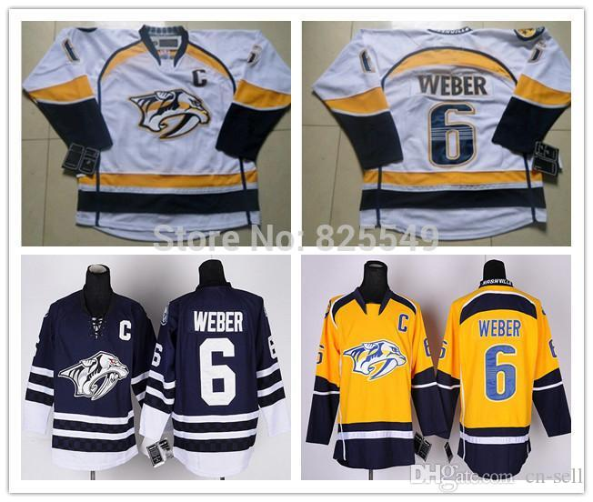 9875726b3 2019 Cheap Men S Women S Youth Nashville Predators Ice Hockey Jerseys 6  SHEA WEBER Yellow Navy Blue White Hockey Jerseys All Stitched Size S XXXL  From Cn ...
