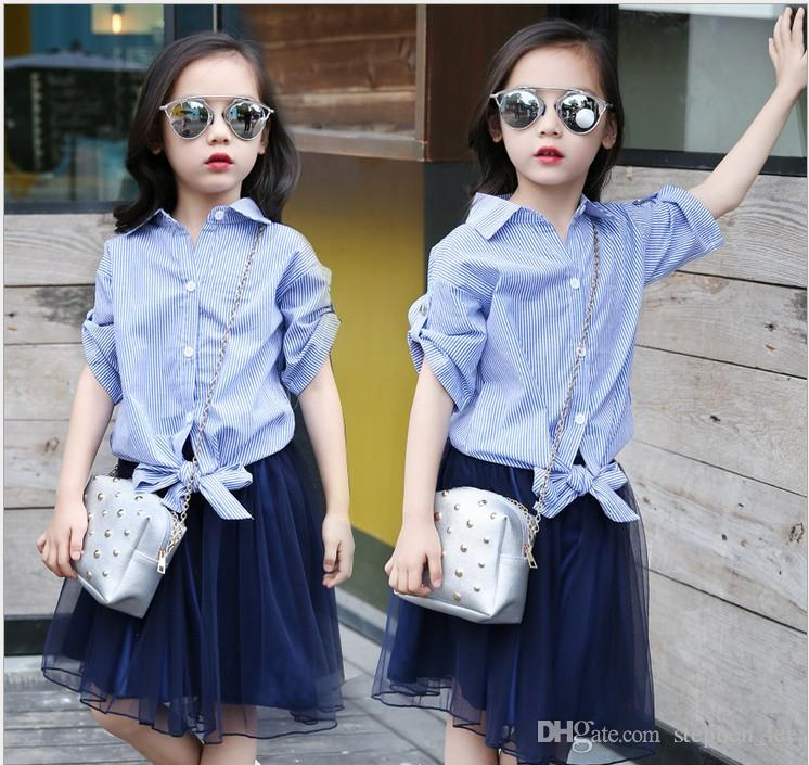 Retail 2016 Summer Fashion Girl Striped Shirts+Lace Net Yarn Tutu Skirts Sets Big Girls Suits Children Outfits Kids Casual Set 120-160