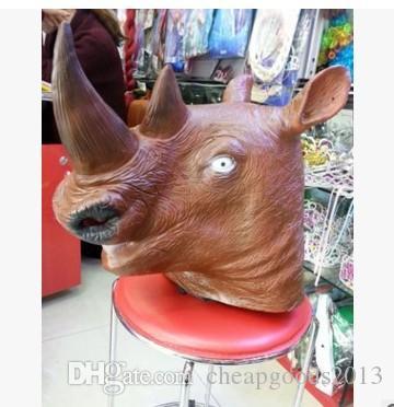 할로윈 마스크 코뿔소 머리 동물 머리 자연 녹색 라텍스 유니콘 마스크