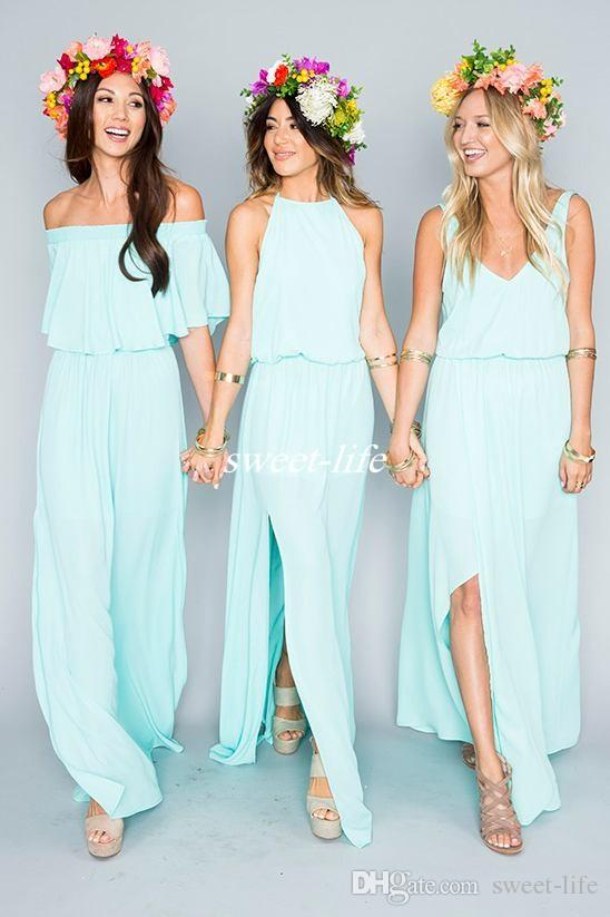 Elegant Mixed Style Side Slit Boho Beach Wedding Bridesmaid Dresses Mint Green  Chiffon Floor Length Jewel 2016 Maid Of Honor Dress Long Party Gowns  Bridesmaid ...