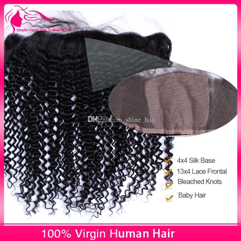 8A 100% Human Hair With 4x4 Silk Base Lace Frontal Deep Curly 3Bundles Virgin Malaysian Hair With Silk Top Lace Frontals