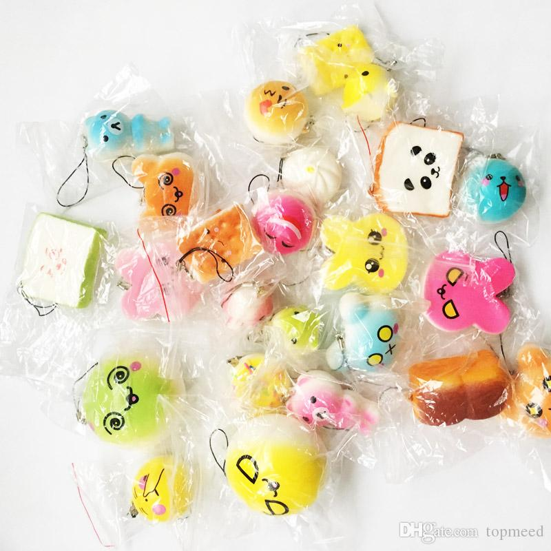 /pack Squishies Slow Rising Squishy random sweetmeats ice cream cake bread Strawberry Bread Charm Phone Straps Soft Fruit Kids Toys 555