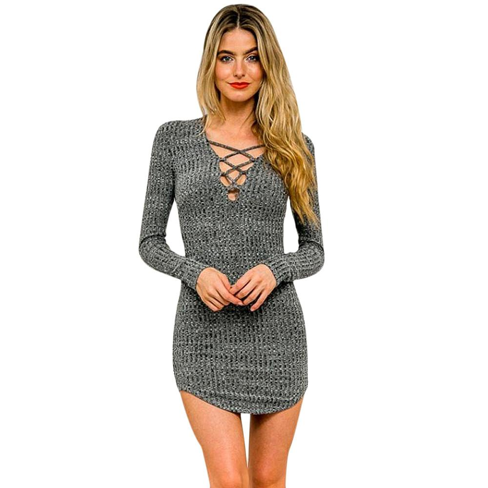 69f19c71bc Knitted Bodycon Bandage Dress Vintage Sexy Mini Dress Vestidos For Women  Autumn Long Sleeve Elasticity Cotton Casual Dress Knitted Bodycon Bandage  Dress ...