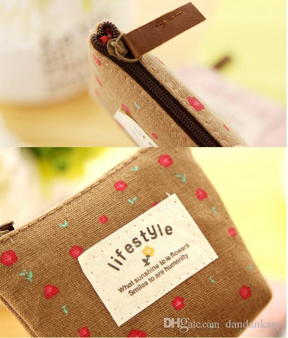 Canvas Material Korea Coin Purse lady women purse portable sport earphone bag girl use mini bag cute kids leather zipper wallets