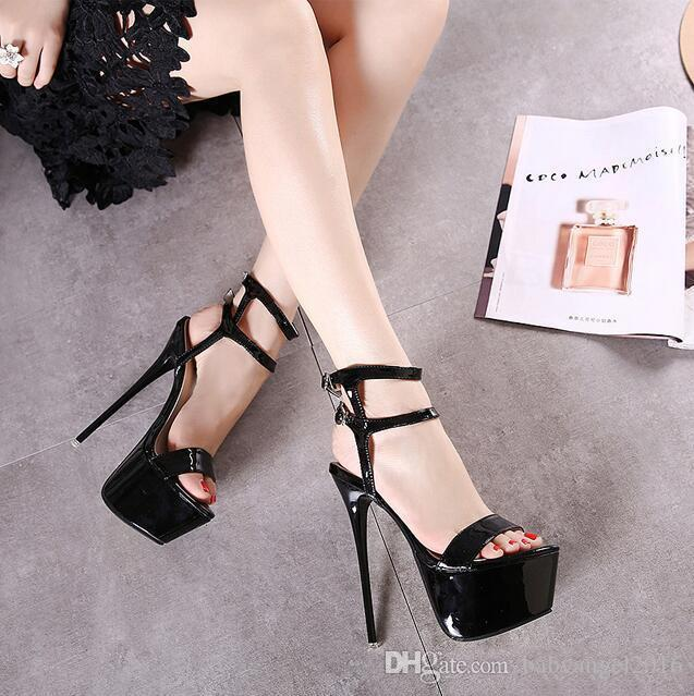 2016 Summer Women High Heel 17cm Fashion Sexy Ladies Sandals Pumps Peep toe Thin Heel Ankle strap Platform Shoes Woman