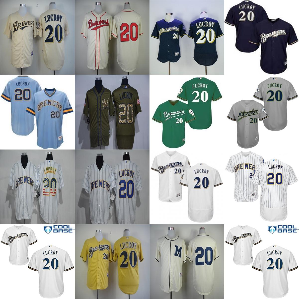factory outlet mens womens kids milwaukee brewers 20 jonathan lucroy blue grey white beige jonathan lucroy brewers 20 gold cool base cerveceros jersey