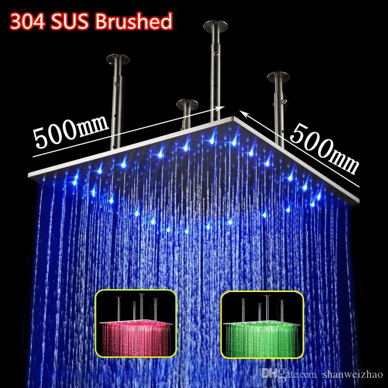 الصمام رأس دش 20 بوصة مربعة المائية الطاقة 3 تغيير اللون أدى ضوء المطر دش الصمام سقف المطر دش