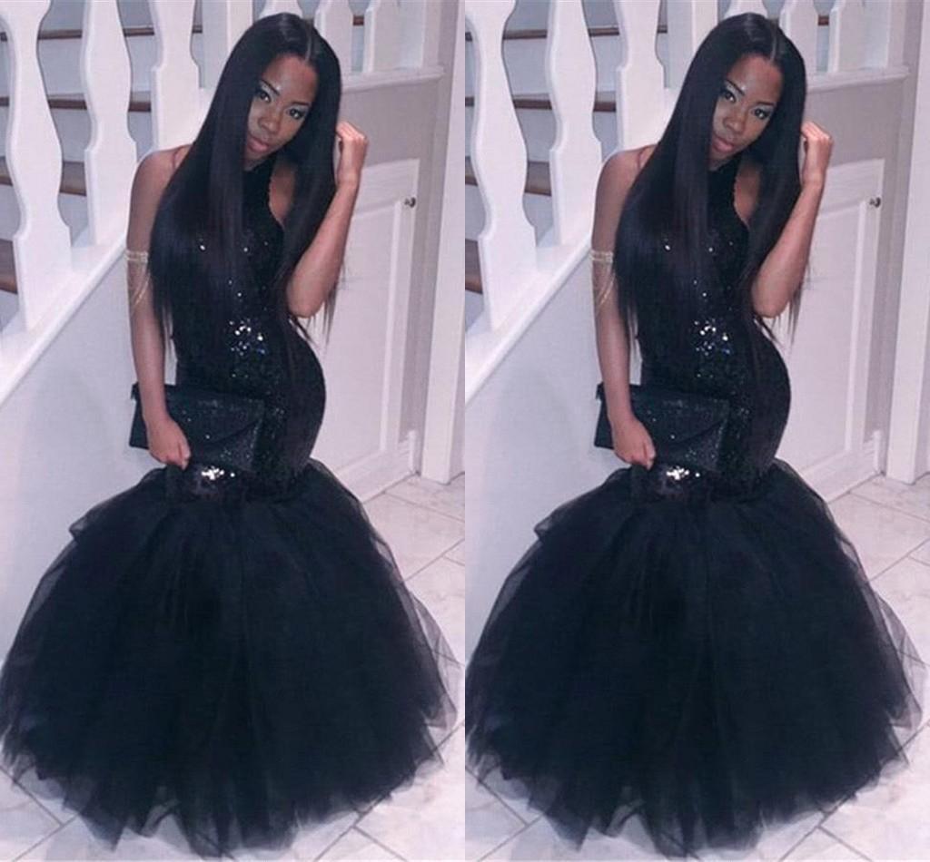 Black Girl 2k16 Prom Dresses Halter Neck Sequins Topped Mermaid ...