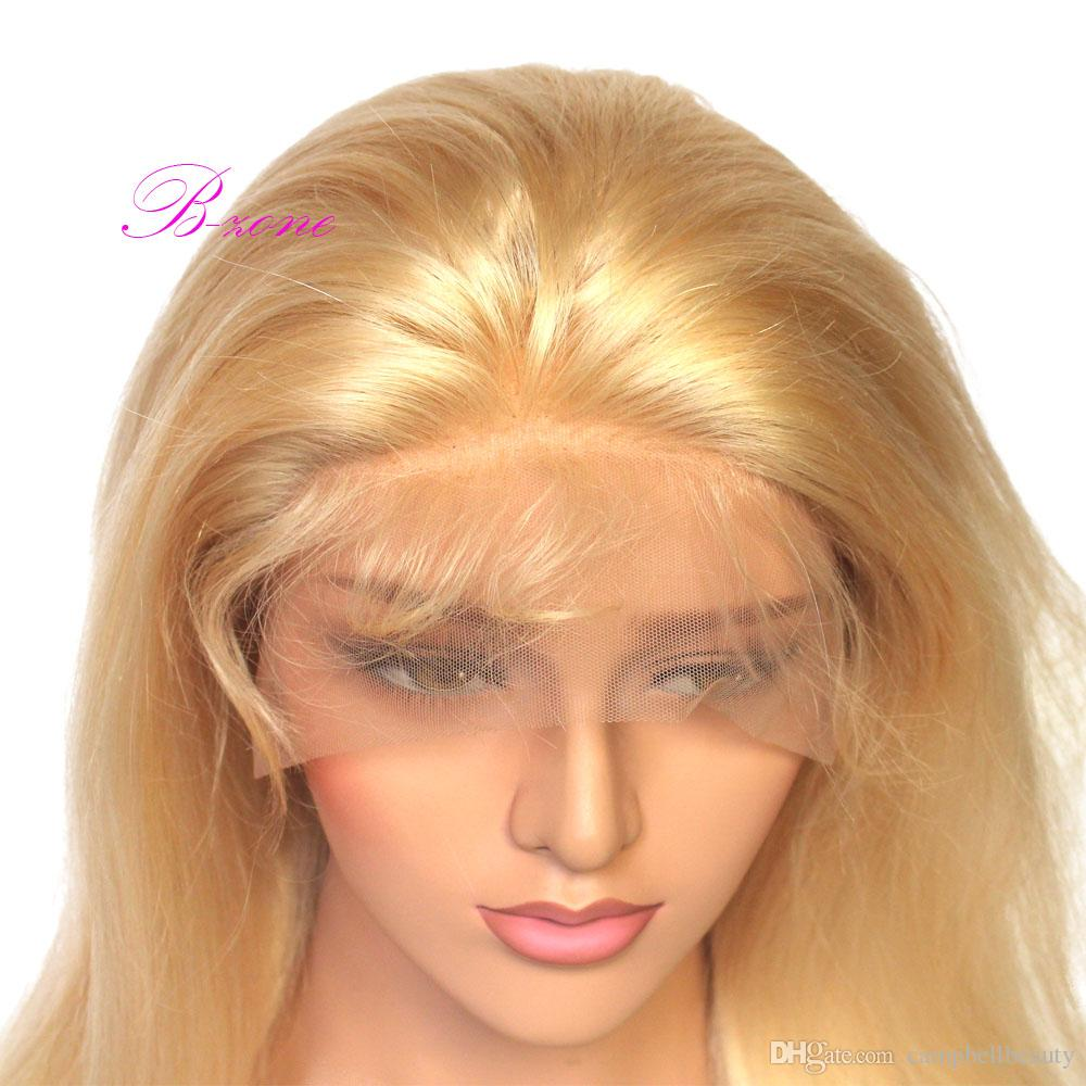 #613 blond peruvian full lace human hair wigs #613 remy hair wigs middle part with bleach knot pre plucked hairline with baby hair