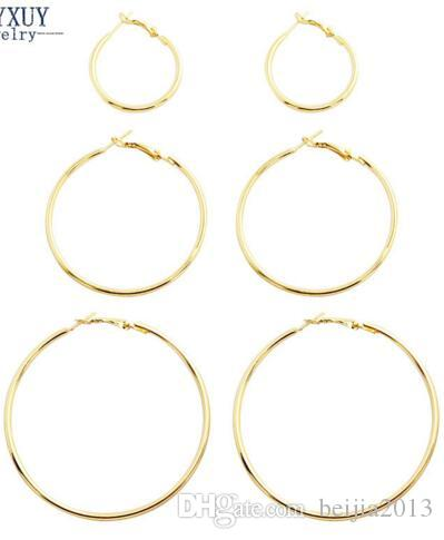 Ücretsiz Kargo Yeni moda takı büyük hoop küpeler set 1 grup = hediye için kadın kız E3314 toptancılar