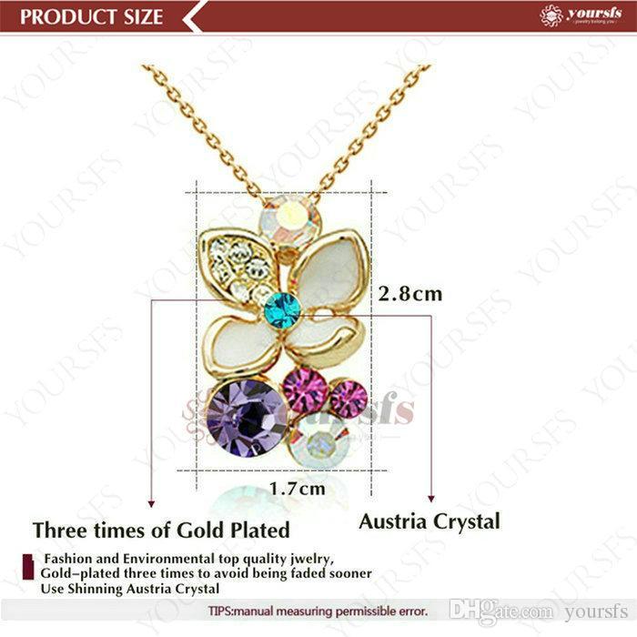 Yousfs mode julklappar halsband 18k ros guldpläterad gp färgglada blomma kristallklöver hängande uttalande halsband för kvinnor smycken