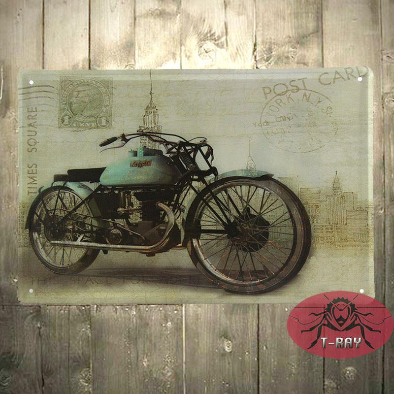Motorcycle Wall Mural Garage Oil Station Tin Signs Wall Art Decor Bar Metal  Iron Painting C 77 160909# Sticker Window Stickers And Decals From  Countryland, ...