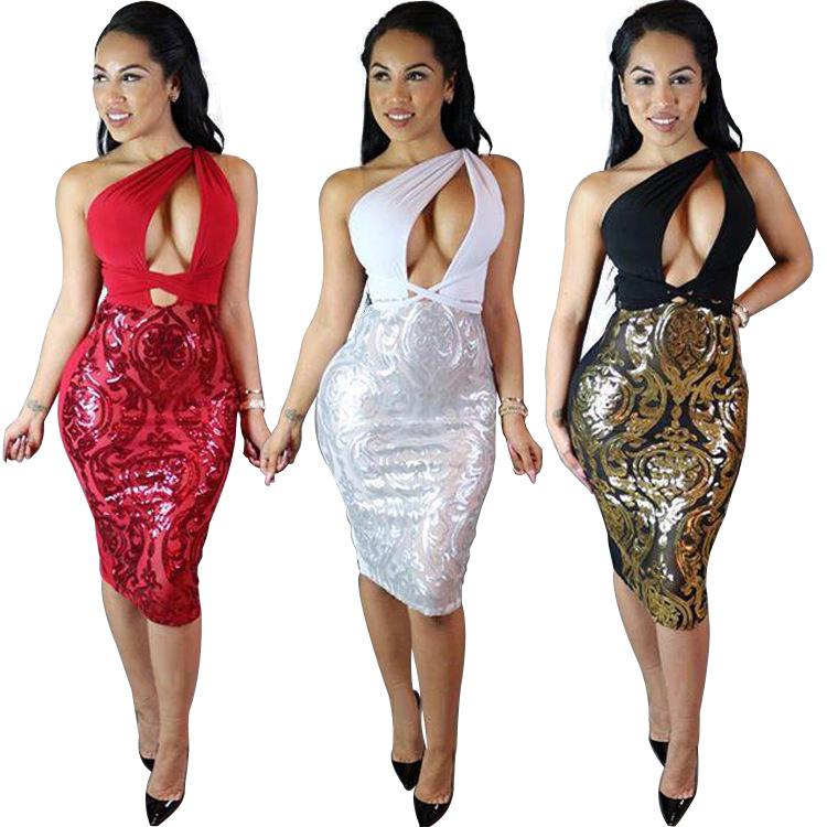 bd7b24408813d Sexy Club Dress 2016 Hot Summer Style Women One Shoulder Sequined Backless  Dress Casual Hollow Out Split Party Bodycon Dress