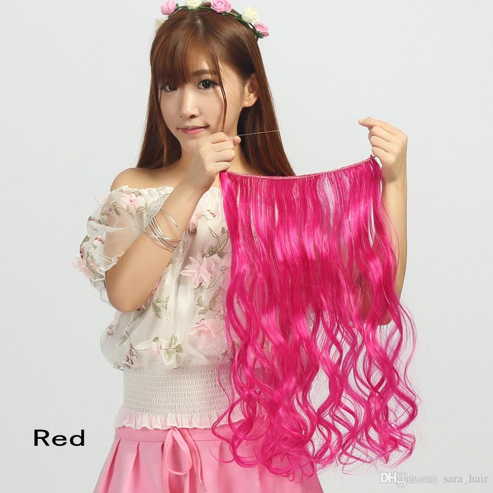 """Sara Kinky Curly Headband micro loop ring hair extensions Fish line on hair 45cm 18"""",clip in on hair extension synthetic hairpiece"""