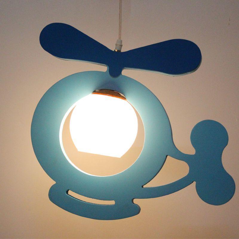 Cartoon Wooden Airplane Children Light Cute Kids Room Small Plane Lamp Baby Room Bedroom Pendant Lights