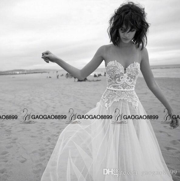 Liz Martinez 2019 Elegante pizzo Tulle Summer Holiday Beach Abiti da sposa Sheer Neck Illusion Back economici sposa Boho Wedding Gown