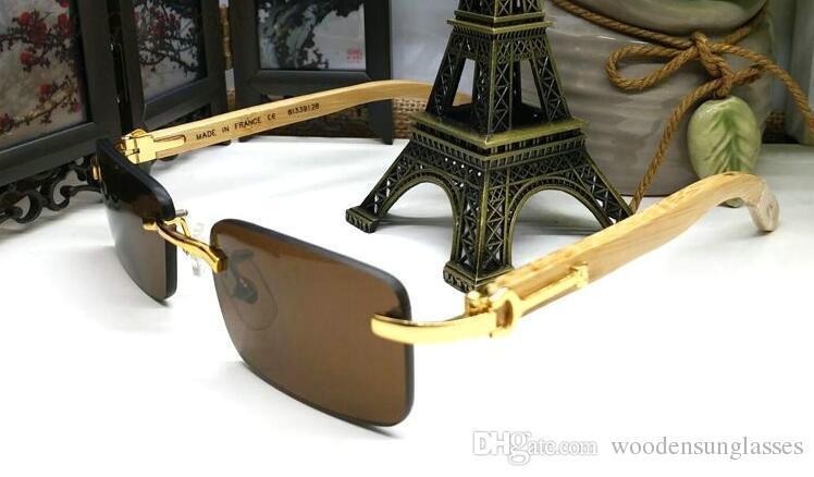 2017 Recién Llegado de Gafas de Sol de Madera Para Hombres Diseñador de la Marca Buffalo Cuerno Gafas Gafas de Sol Oro Plata Marco de Metal Piernas de Madera Ven con Caja