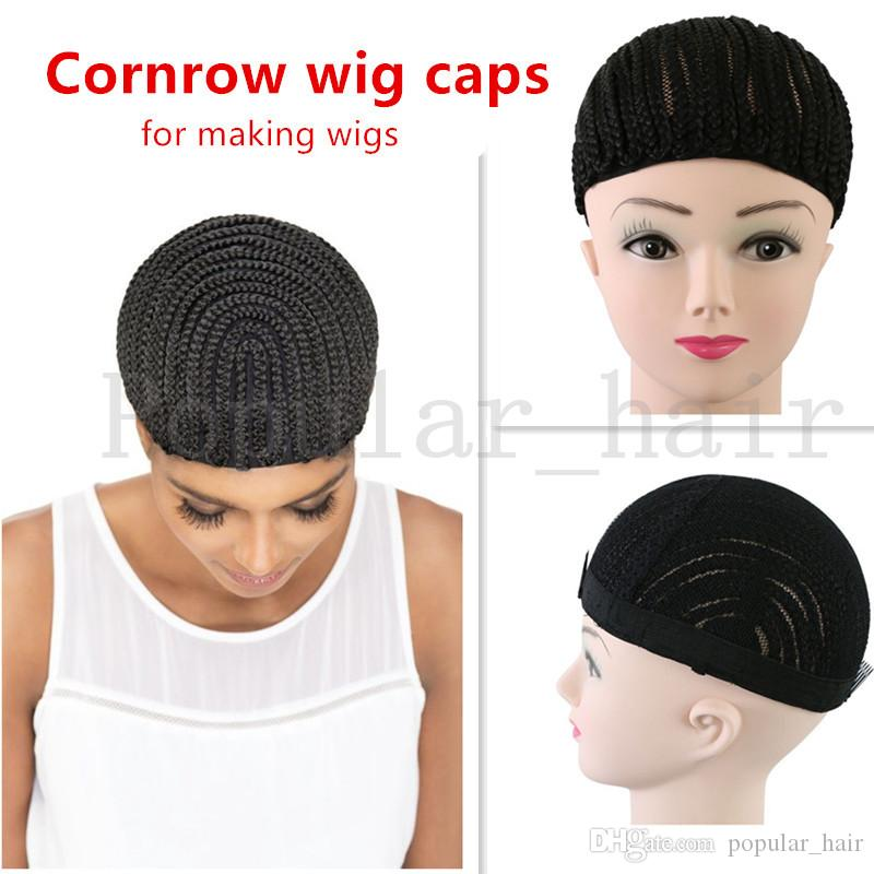 Crochet Braided Hair Wig Caps for Weave Adjustable Straps Cornrow ... eeb249ba86