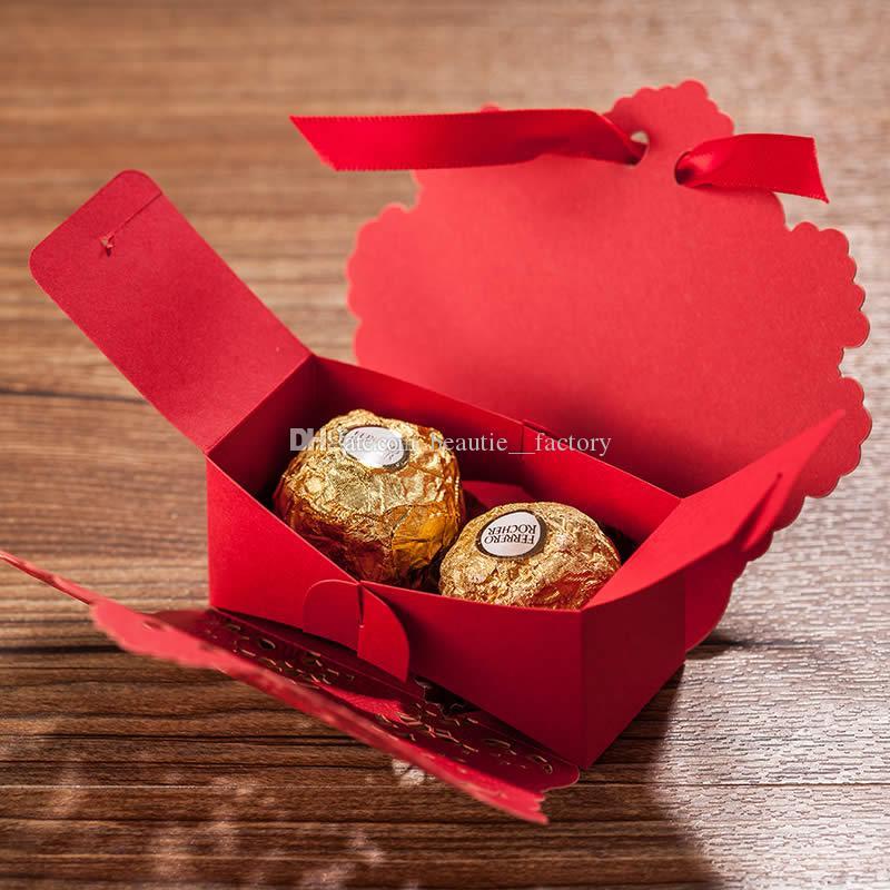 Flor Hollow caixa de doces vermelhos ou marfim aniversário festa de casamento favor a caixas de presente de chocolate design original Novo