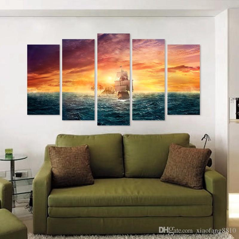 Pirate Ship Big size sea sun decoration gold seascape wall art pictures landscape Canvas Painting boat living room unframed