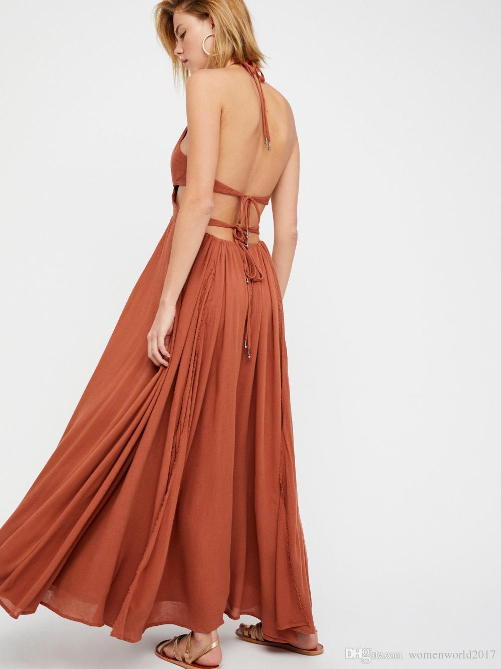 Maxi Robe V Cou Sans Manches Solide Bretelles Split Robes Cravate Dos Nu Robe Longue D'été Plage Boho Wedding Party Dres