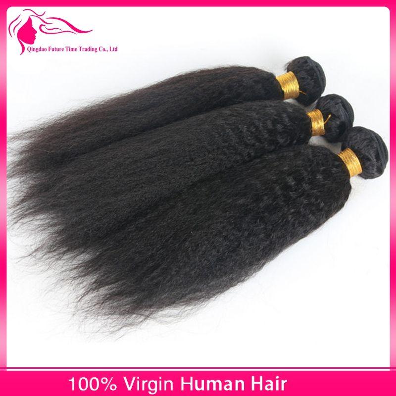 Brazilian Hair Lace Closure With Hair Bundles Kinky Straight Hair Coarse Yaki 3 Bundles With Closure Silk Base For Black Woman