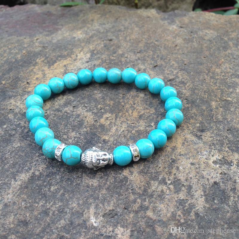 SN0401 Atacado Moda Pulseira De Pedra Natural Turquesa pulseira de buda conjunto barato pedra beads homem pulseira de jóias budista