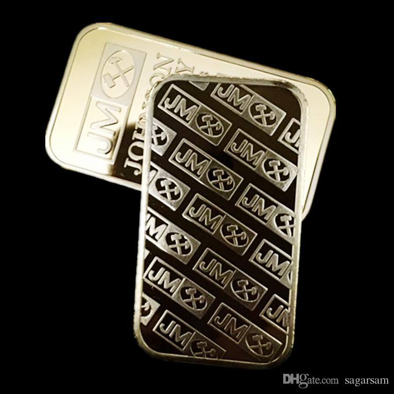 Non Magnetic Amerian coin JM Johnson matthey 1 oz Pure 24K real Gold silver Plated Bullion Bar with different serial number