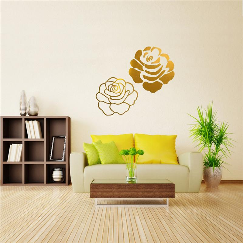 Different Price DIY Mirror Two Rose Flower Wall Stickers Home Decor Mural Art Decal Acrylic Best Promotion High Quality Ico China Blank