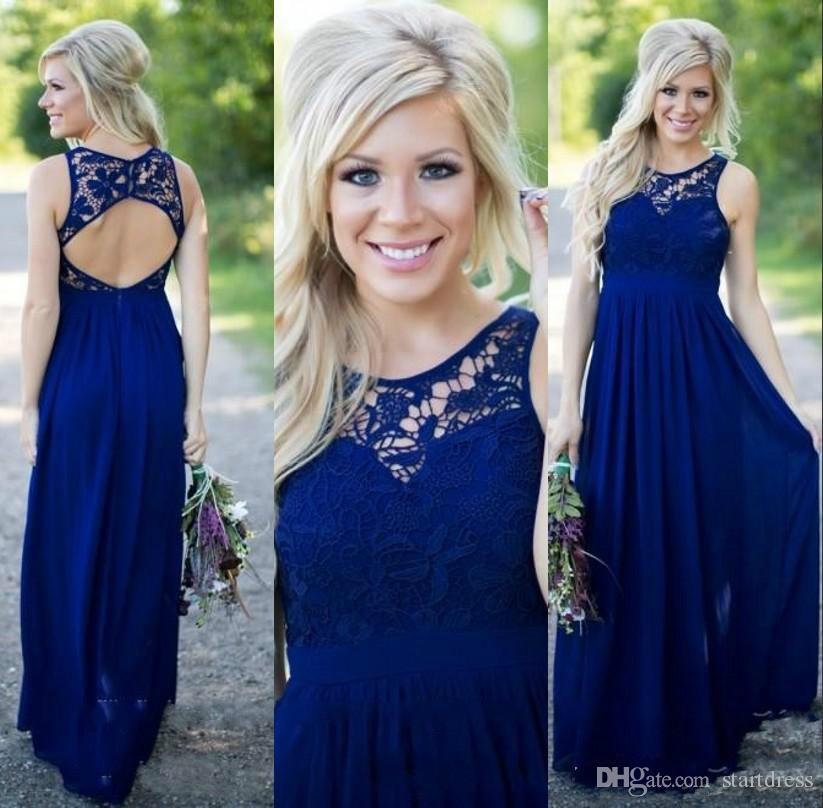 Beautiful Royal Blue Country Bridesmaid Dresses Long Lace Neck Prom Dresses Petite Chiffon 2015 Evening Gown Open Back junior Maid of honor