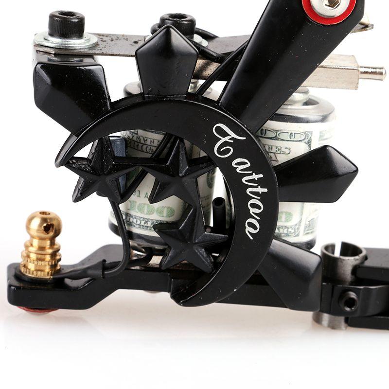 Nuevo diseño hecho a mano cristalino negro Shader Tattoo Gun 10 bobinas de envoltura máquina del tatuaje para Kits de suministro de arte TM8395