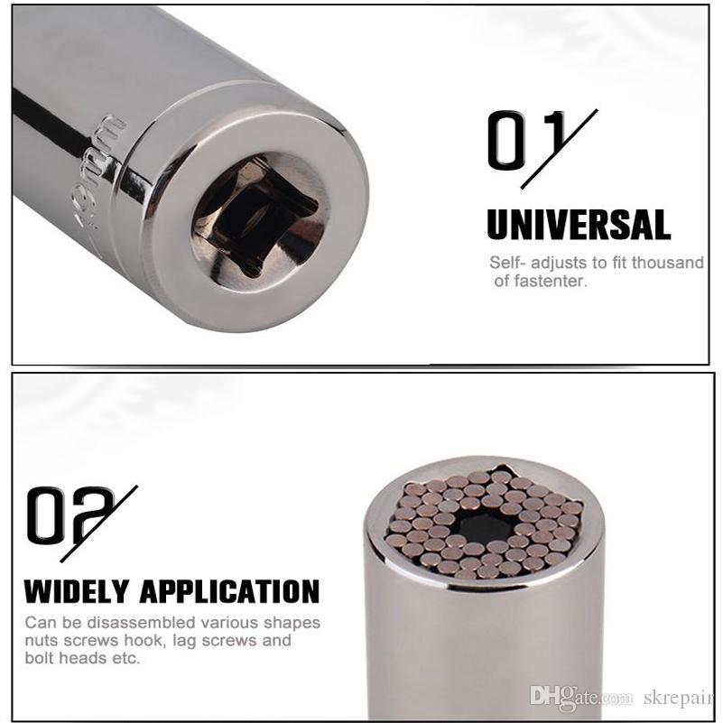 Çok Fonksiyonlu Cırcır Evrensel Soket 7-19mm Güç Matkap Adaptörü Araba El Aletleri Tamir Kiti