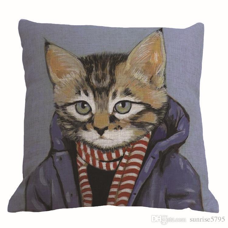 10 디자인 인간의 옷에 동물 고양이 쿠션 커버 창조 cojines 현대 almofadas 45cm 소파는 베개 케이스 가정 장식을 던져