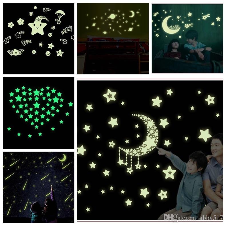 Romantic Night Luminous Glow In Dark Wall Stickers 3d Pvc Wall Sticker  Children Bedroom Stickers Star Moon Sticker Meteor Shower Wallpaper Wall  Decor For ...
