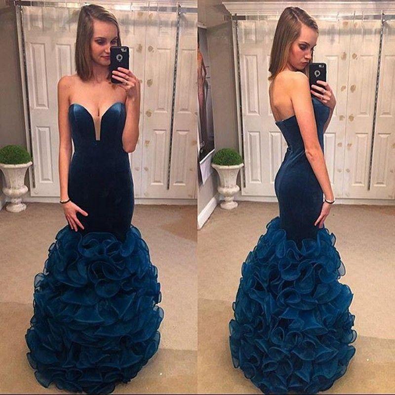 Flouncing Ruffles Sereia Vestidos de Baile 2016 Azul Escuro Veludo Querida Backless Sexy Vestidos de Festa 2016 Vestidos de Festa de Verão