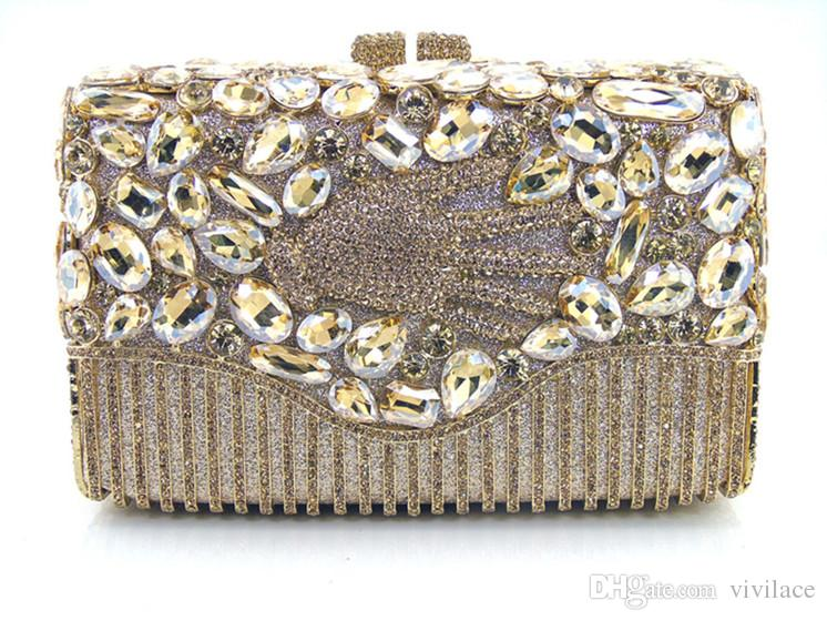 2016 new fashion brand AS14-1 GOLD COLOUR 100% handmade crystal flower shape women purses day evening bags and clutches