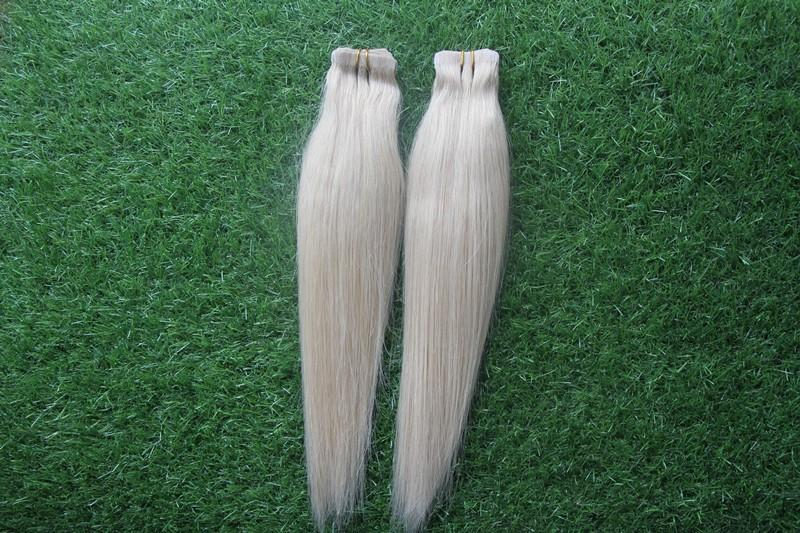 "100% Platinum Pure Color Brazilian Virgin Human Hair Extensions 10-30"" Tape Hair Extension 6A Virgin Skin Weft Straight Hair"