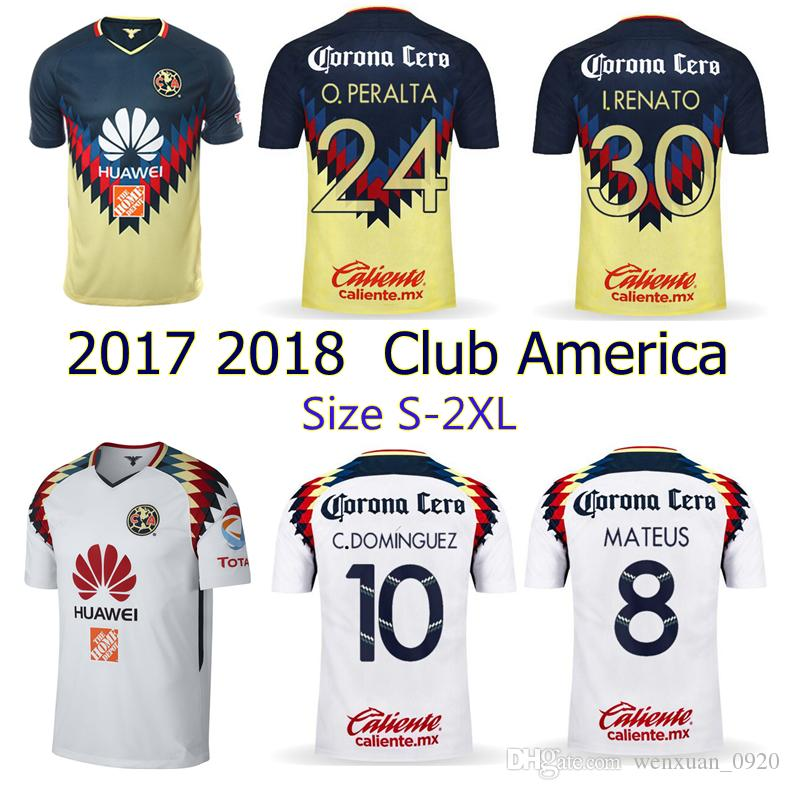 2017 2018 Club America Jerseys 17 18 Home Away Soccer Jerseys Top Quality  D.BENEDETTO SAMBUEZA P.AGUILAR C.BLANCO Football Shirts Club America Soccer  ...