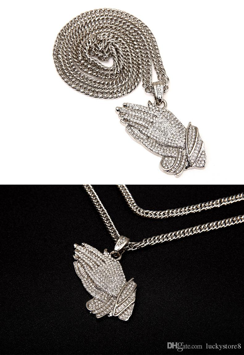 New Silver Praying Hands Hiphop Bling Necklace Mens 18k Gold Religous Jewlry Iced Out Prayer Jesus Women Men Gift Plating