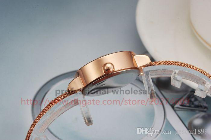 Kadın İzle Gümüş Gül Altın Süper Alaşım Çelik Rhinestone Dial Bileklik Kadınlar Için Iki Işaretçi Takı Kol