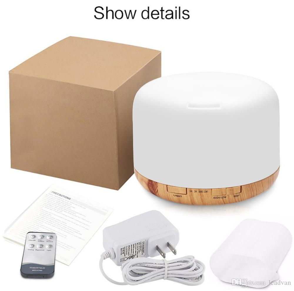 Remote Control Air Humidifier Ultrasonic Aroma Essential Oil Diffuser LED Aroma Diffuser Lamp Aromatherapy 500ML Large Capacity Wood Grain