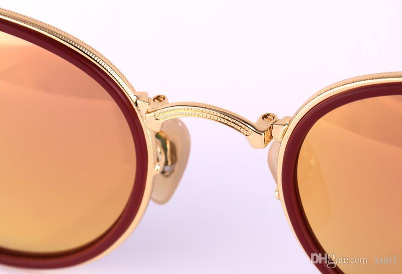 Высокое качество складной солнцезащитные очки бренд поляризованные солнцезащитные очки ретро складной пляж солнцезащитные очки женские круглые стеклянные линзы мужские очки поставляются с коробкой