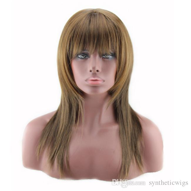 WoodFestival 50 centimetri harajuku gradiente parrucca di capelli in fibra soffici parrucca lunga rettilineo con frangia resistente al calore parrucche sintetiche donne parrucche cosplay