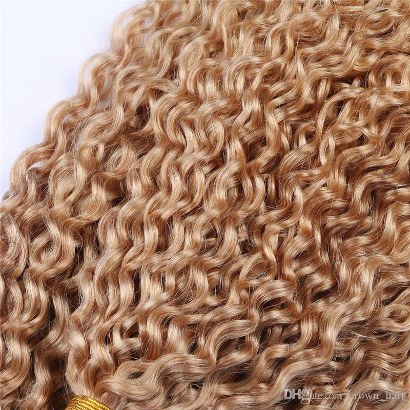 Extensions de cheveux bouclés crépus mongoliens Faisceaux de cheveux blonds au miel Non transformés # 27 Cheveux de couleur pure tressent / pour femme
