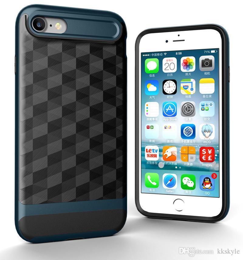 iPhone 8 plus 케이스, 3 in 1 초박형 슬림 하드 케이스 코팅 미끄럼 방지 3D 프리즘 표면 PC 프레임 포함 Apple iPhone 6 / 6s / 7 / 8 plus