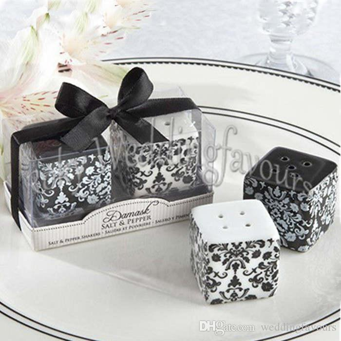 =Ceramic Damask Salt & Pepper Shaker Wedding Favors Birthday Party Gifts Bridal Shower Souvenirs Decoration Idea