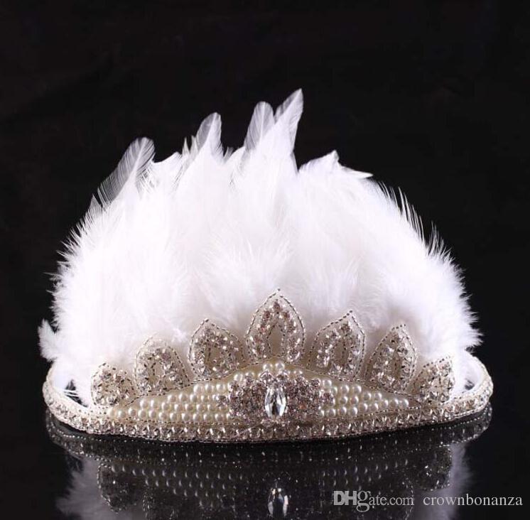 Luxury Girls Bohemia Glitter Crown Headband girls Feather Headbands Girls Baby Princess Diamond Beading Hair Accessories